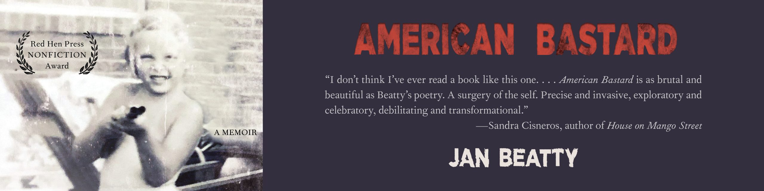 Promotional banner celebrating the release of American Bastard by Jan Beatty