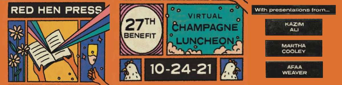Orange banner showing details of the 27th Benefit