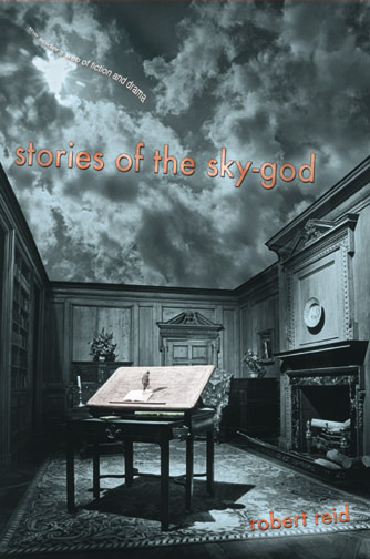 Orange text stating Stories of the Sky-God by Robert Reid over the image of a roof-less study with a stormy sky above.