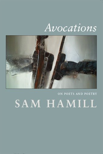 White text stating Avocations on Poets and Poetry by Sam Hamill over a blue grey background with the image of an abstract painting.