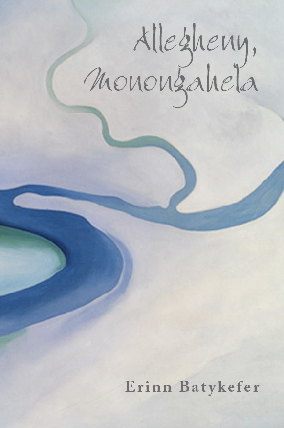 Grey text stating Allegheny, Monongahela by Erinn Batykefer over an illustration of a blue river on a white background.