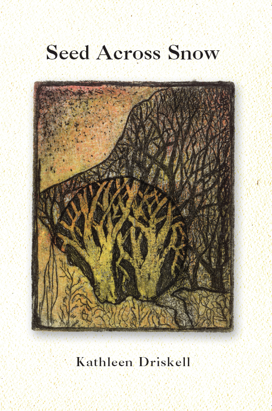 Black text stating Seed Across Snow by Kathleen Driskell over a cream and yellow-speckled background with the centered image of brown trees in an orange, yellow and green rectangle.