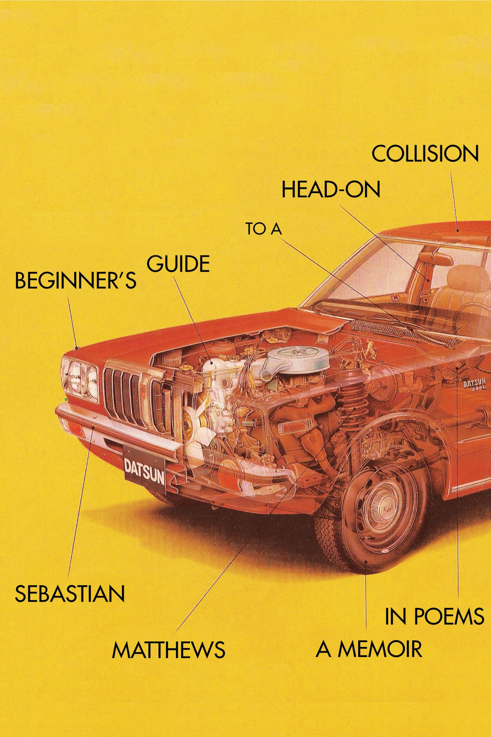 A yellow background and a red car with black script that reads Beginner's Guide to a Head On Collison a memoir in poems by Sebastian Matthews.