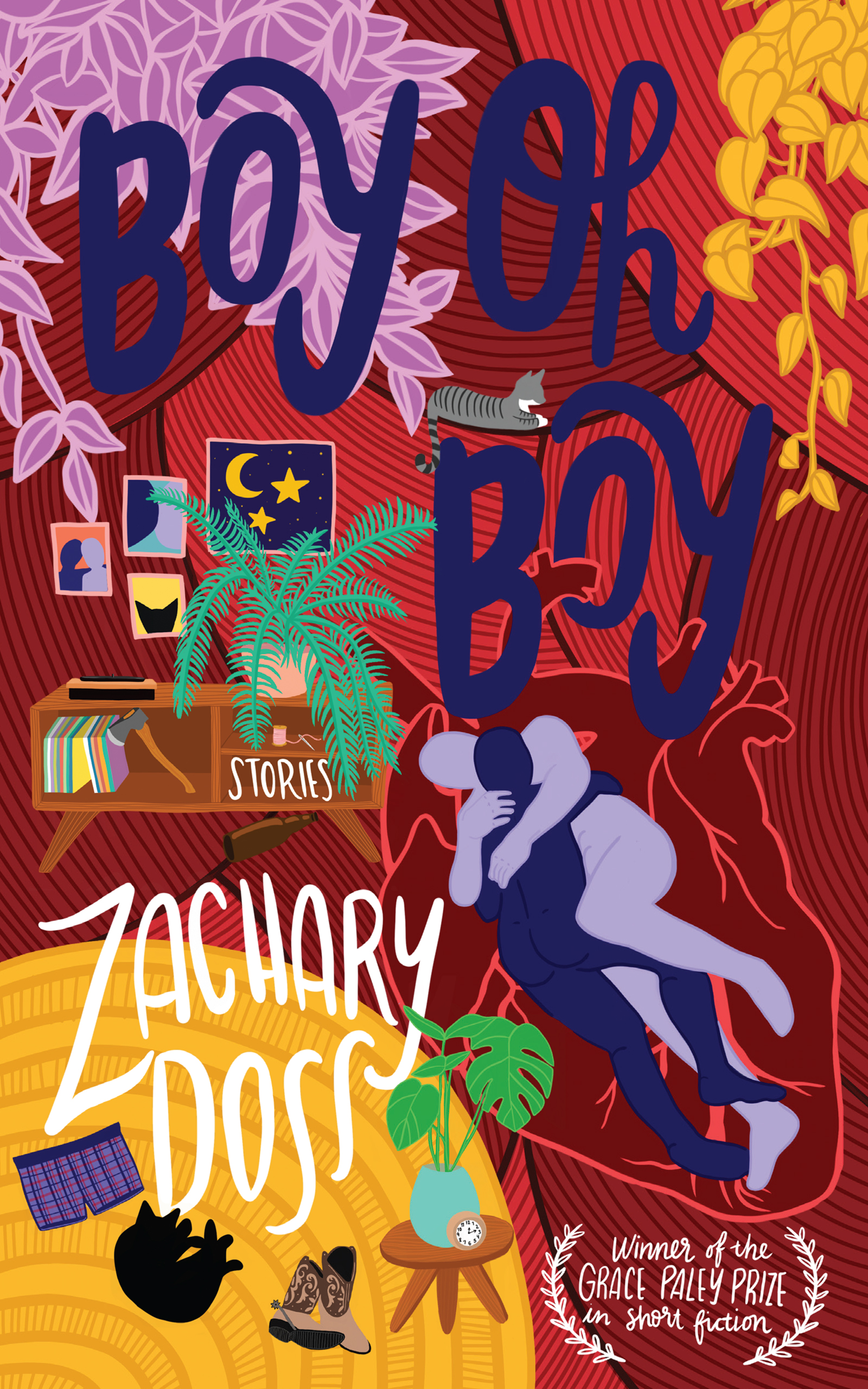 A colorful graphic design of an apartment room with a yellow rug and two people intertwined together with blue script that reads Boy Oh Boy by Zachary Doss.