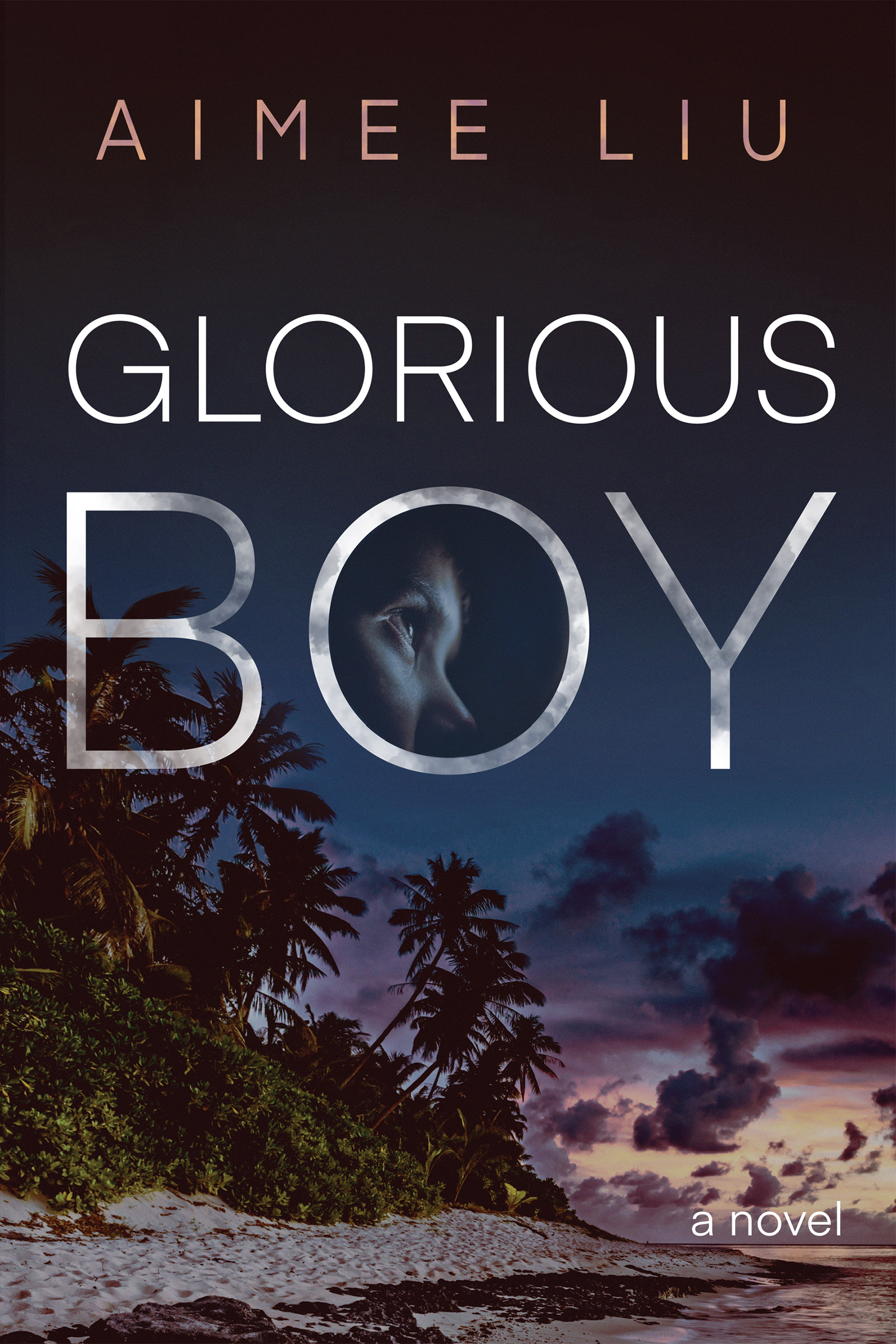A photograph of a beach at sunset and a boys face at the center with white script that reads Glorious Boy a novel by Aimee Liu.