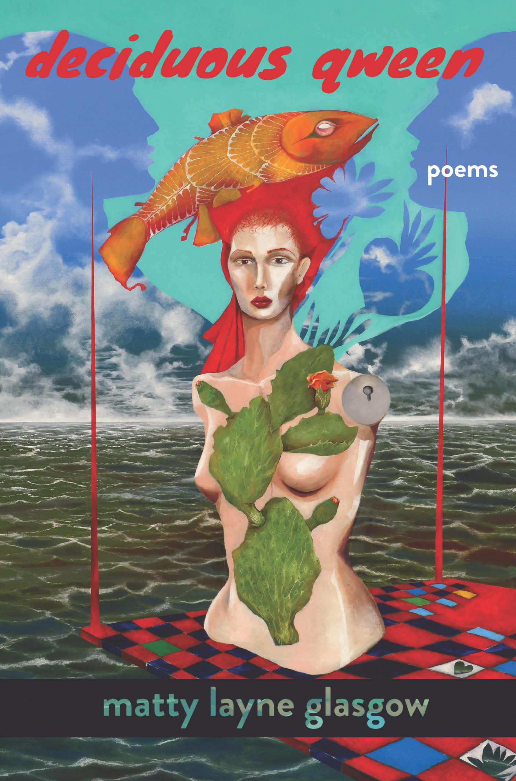 An intricate design of a red haired woman with an orange fish on her head and green leaves covering her body with red script that reads deciduous qween poems by Matty Layne Glasgow.