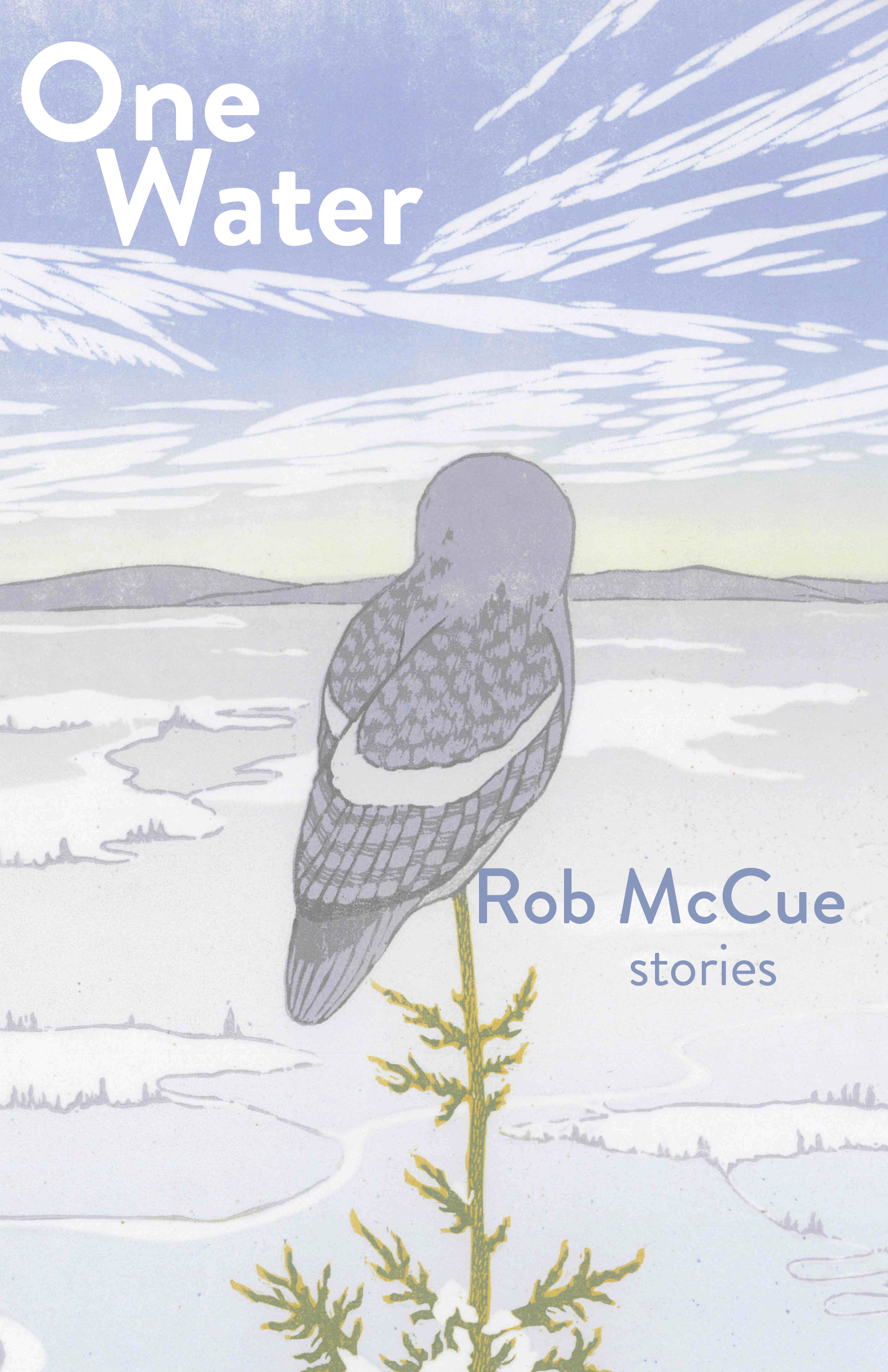 A painting of a desolate landscape with an owl with its back turned and white script that reads One Water stories by Rob McCue.
