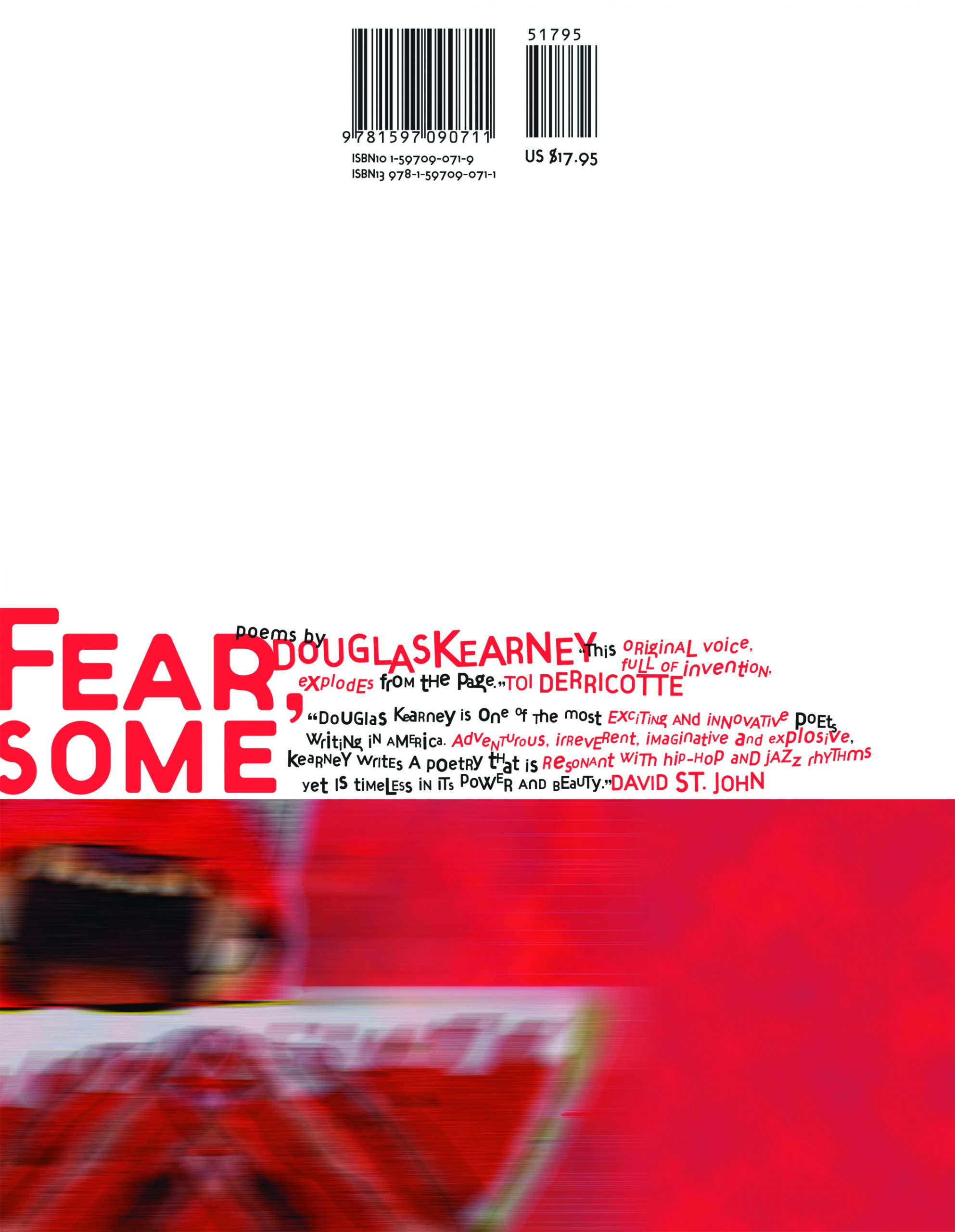 Red and black text stating Fear, Some poems by Douglas Kearney with a blurb by David St. John over a white background with a blurry red abstract painting underneath.