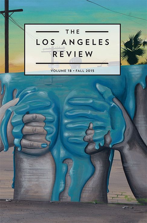 """A white box with black text reads """"The Los Angeles Review Volume 18 Fall 2015,"""" the box is lying on a background of a street painting of a grey figure putting hands over a chest, with blue paint over the chest"""