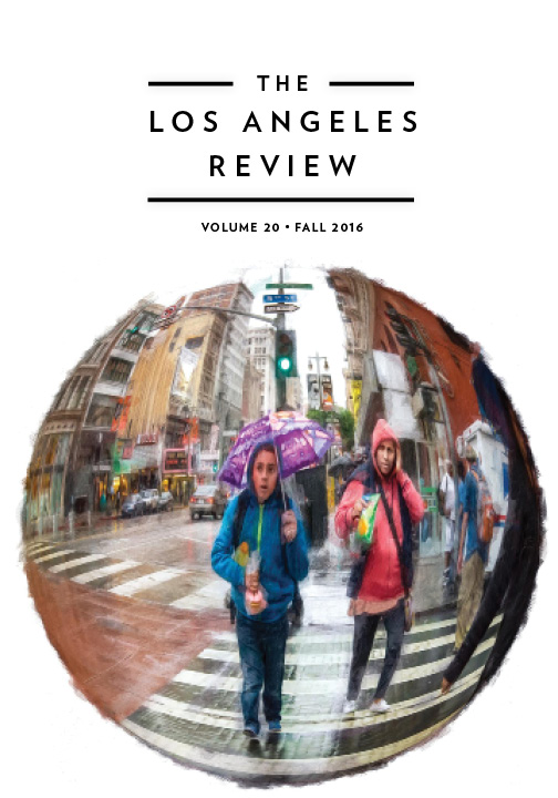 A fish eye photograph of a group of people in a city in the rain with black script that reads The Los Angeles Review volume 20 Fall 2016.