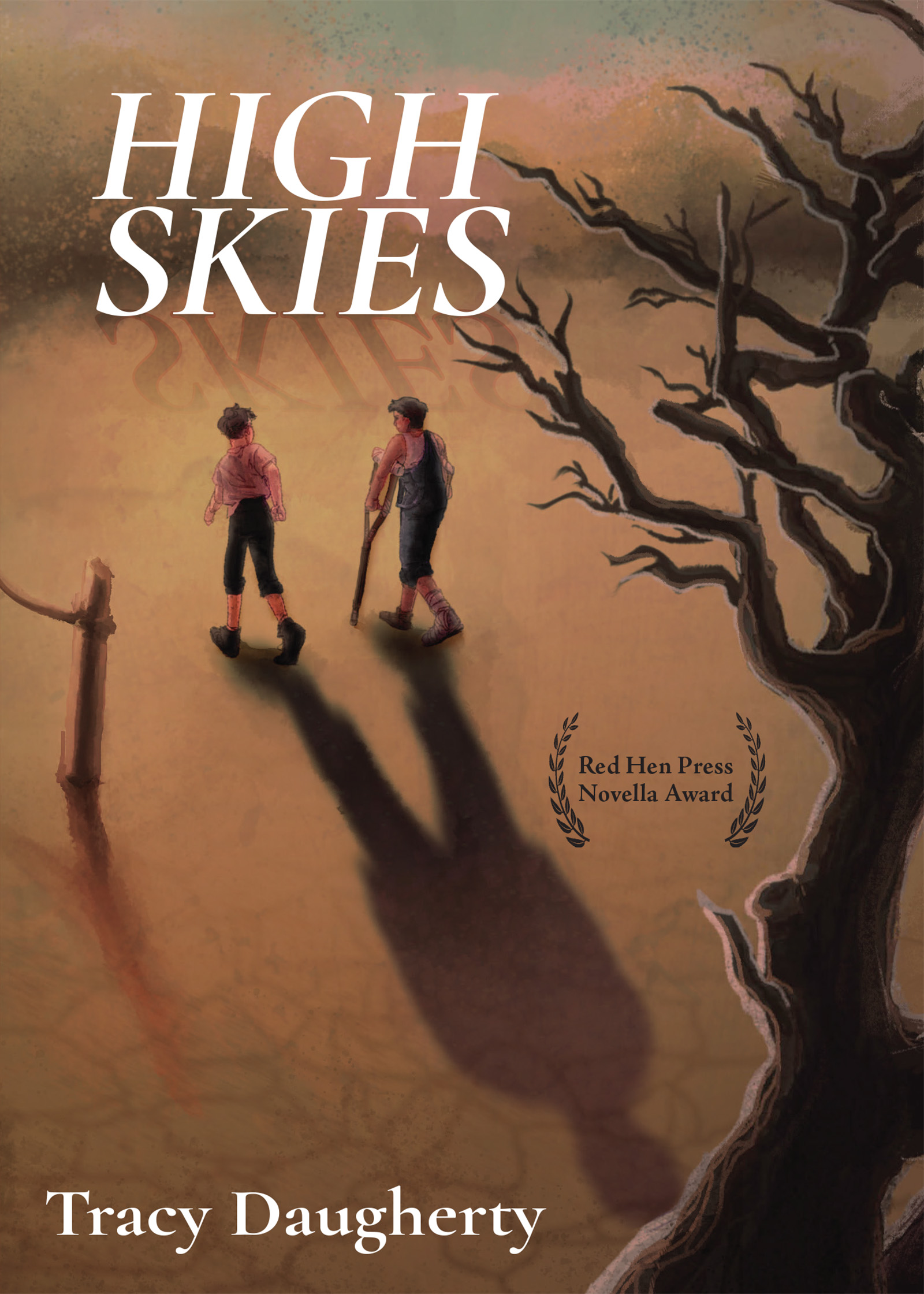 Two men walking in a desert, one using crutches, who's shadows join in the center and turns into one man's giant shadow with white script that reads High Skies by Tracy Daugherty.