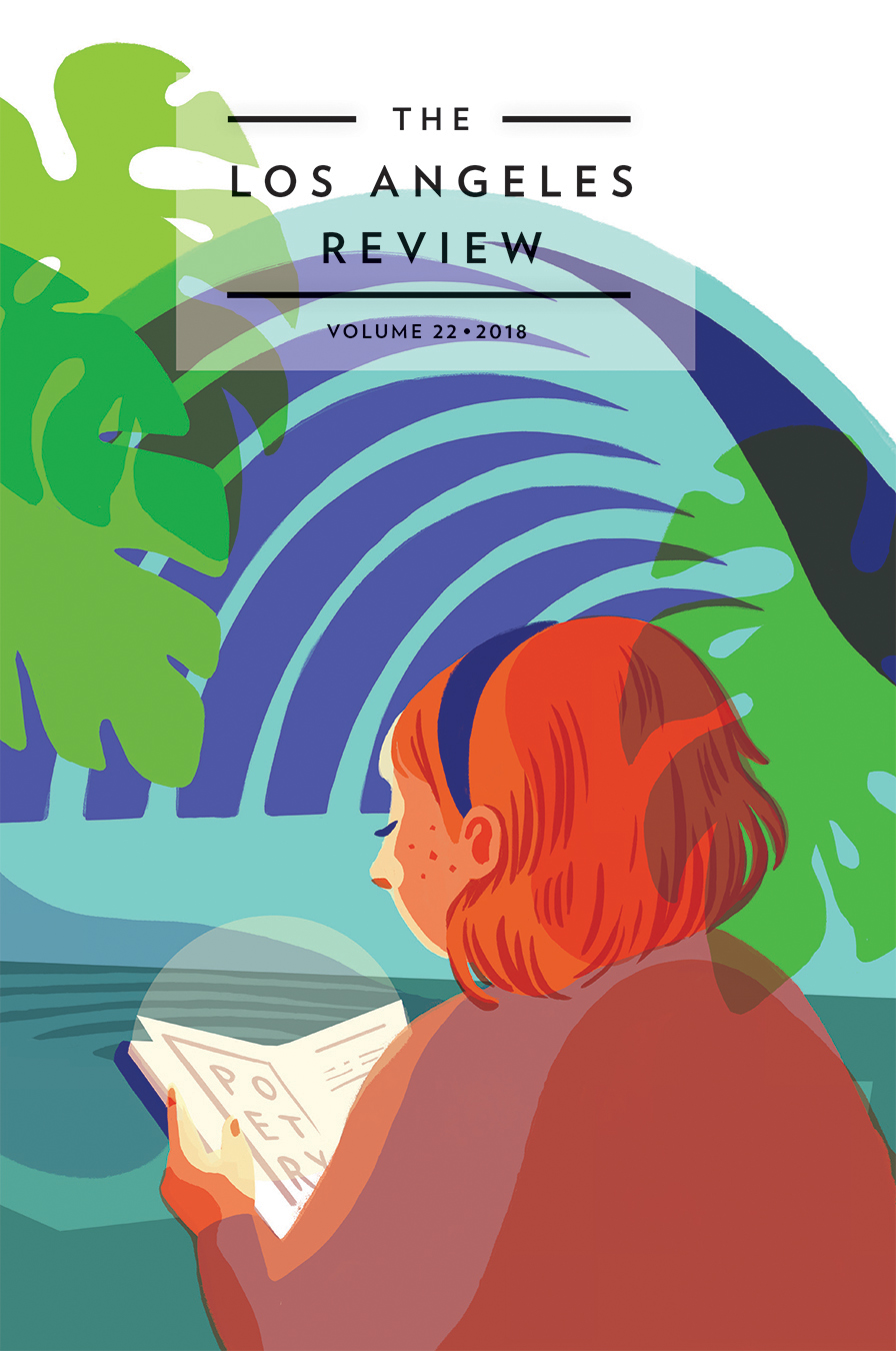 A colorful graphic design of a girl with orange hair reading a poetry book and green palm trees around her with black script that reads The Los Angeles Review Volume 22, 2018.