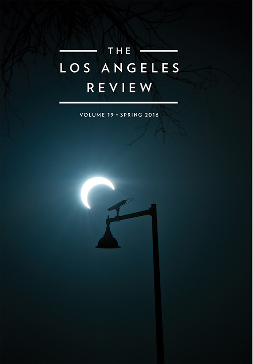 White lettering reads the Los Angeles Review Volume 19 by Kate Gale over the image of a blackened out streetlight and the nighttime sky featuring a bright crescent moon.