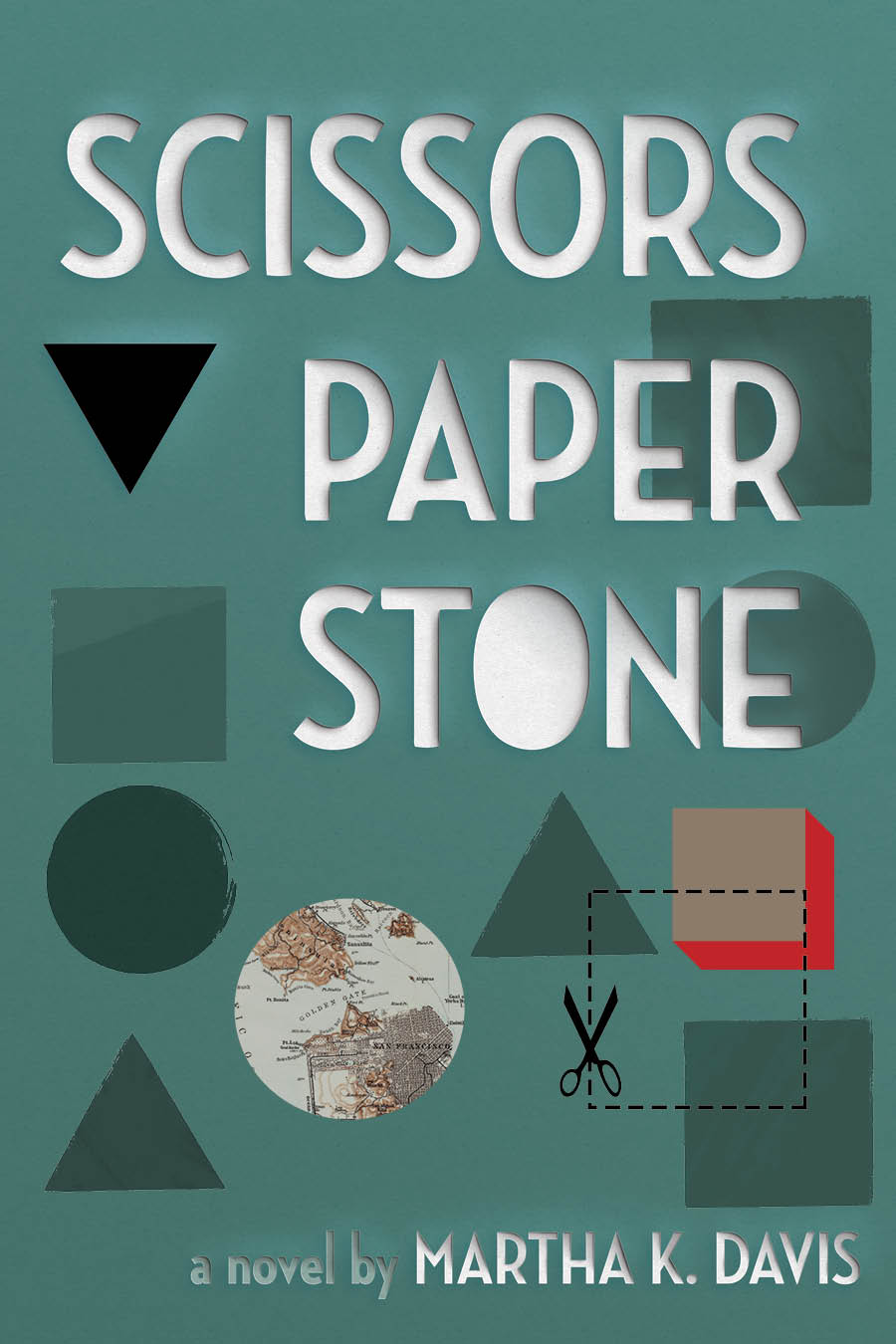 An abstract design of circles, triangles and squares, one of the circles made up of a map and white script that reads Scissors Paper Stone a novel by Martha K. Davis.