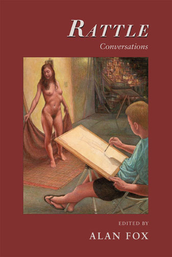White text stating Rattle Conversations Edited by Alan Fox over a red background with the centered painting of a man sketching a naked woman.