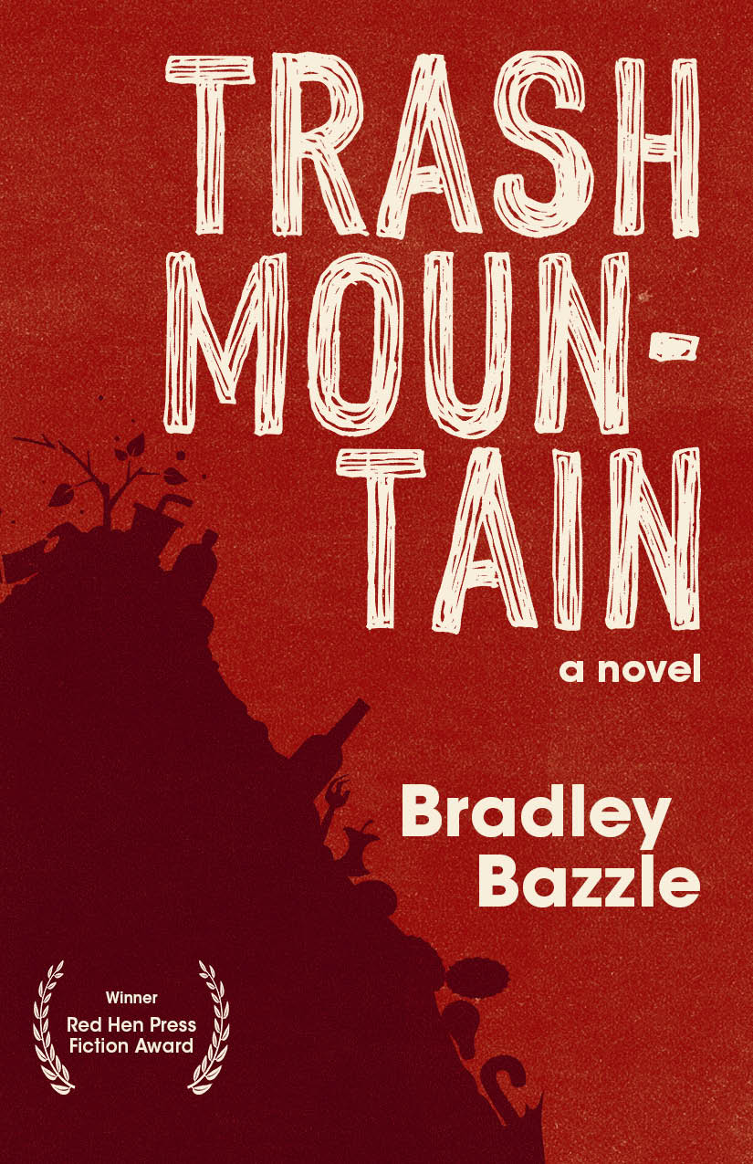 A red background with the outline of a mountain of trash towards the left and script towards the right that reads Trash Mountain a novel by Bradley Bazzle.