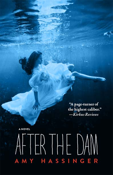 A blue filtered photograph of a woman in a white dress submerged in water with white script that reads After the Dam a novel by Amy Hassinger.