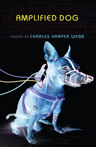 Yellow and blue text stating Amplified Dog Poetry by Charles Harper Webb over a black background with the image of a blue dog hooked up to wires.