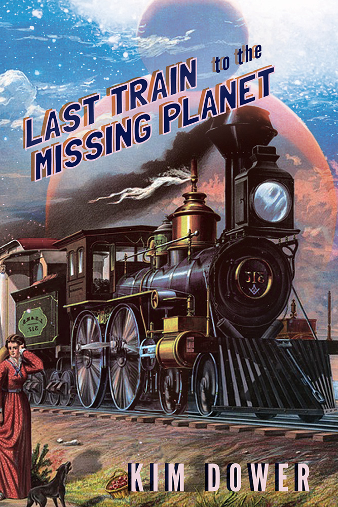 Diagonal pop-stylized lettering reads Last Train to the Missing Planet by Kim Dower over the image of a antique looking train speeding down a railway while a woman in a red dress watches.