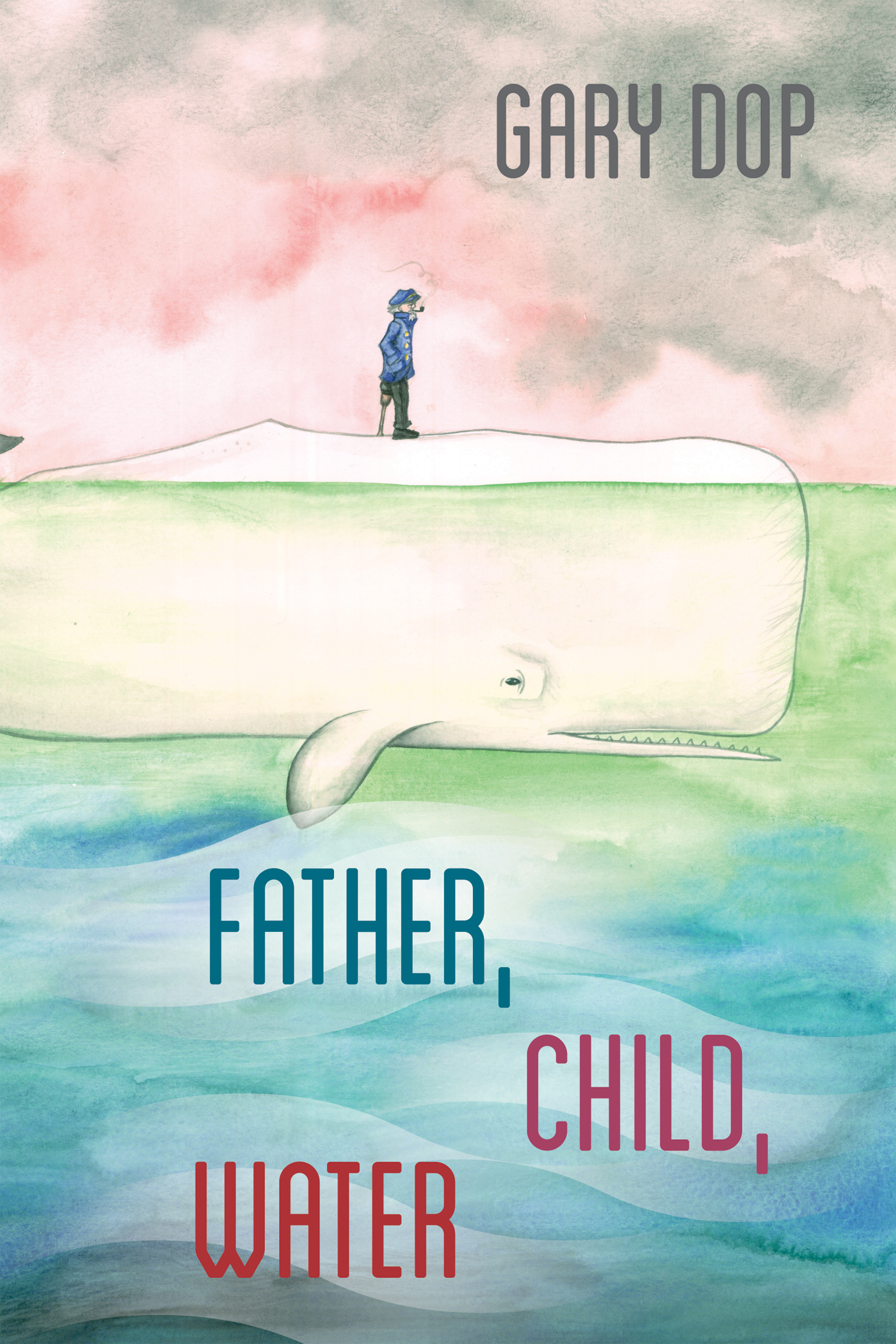 """A drawing of a white whale halfway in water, a drawing of a man standing on the whale against a pink and gray background, gray text reads """"Gary Dop,"""" blue and red text reads """"Father, Child, Water"""""""