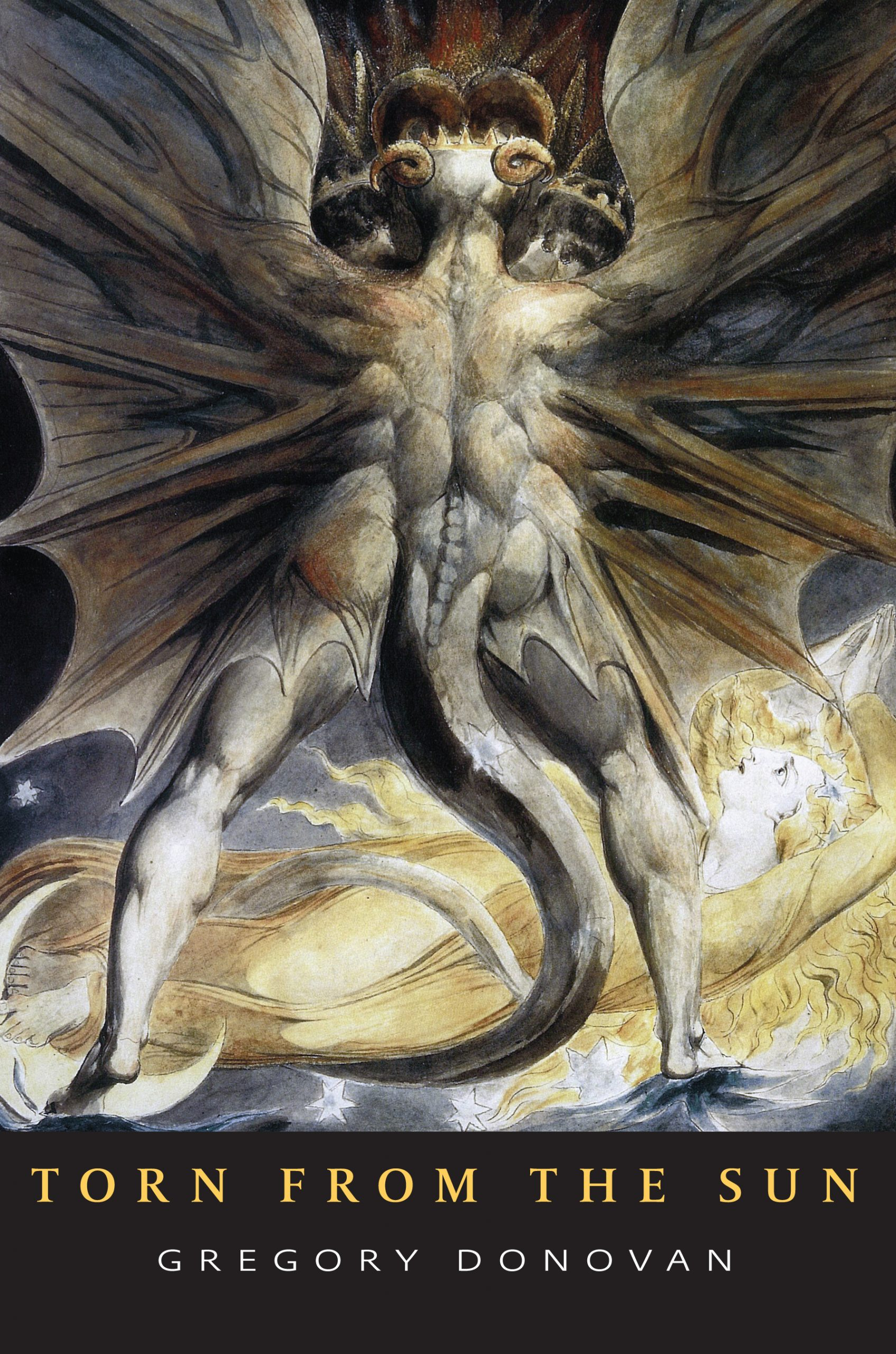"""A large, gray alien figure with wings is against a blue and yellow background, yellow text reads """"Torn From the Sun"""" and white text reads """"Gregory Donovan"""""""