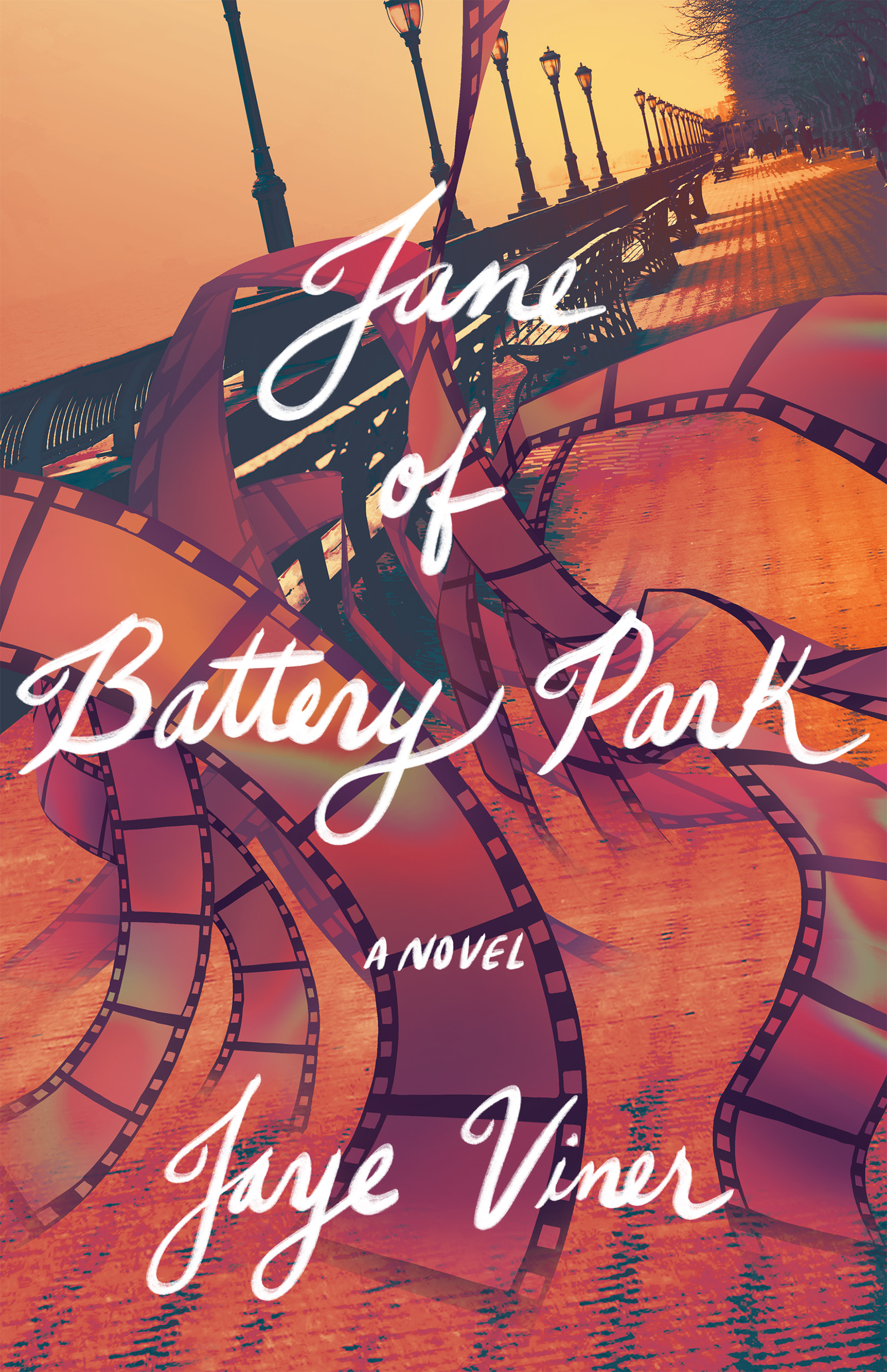 A side walk with black lamp posts and a strip of film negatives flying around with script that reads Jane Battery Park a novel by Jaye Viner.